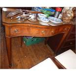 Edwardian crossbanded mahogany serpentine fronted two drawer hall table on square tapering legs