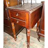 19th c. walnut worktable with two drop leaves, two drawers on turned and fluted legs