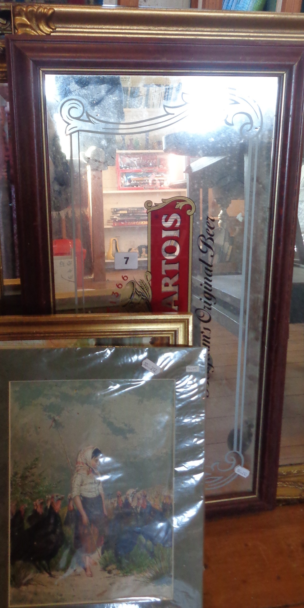 Lot 7 - Assorted prints and a modern advertising pub mirror