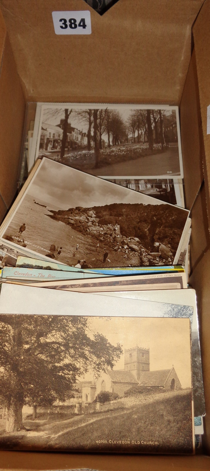 Lot 384 - Box containing old and vintage postcards, mainly scenes of Clevedon, Somerset