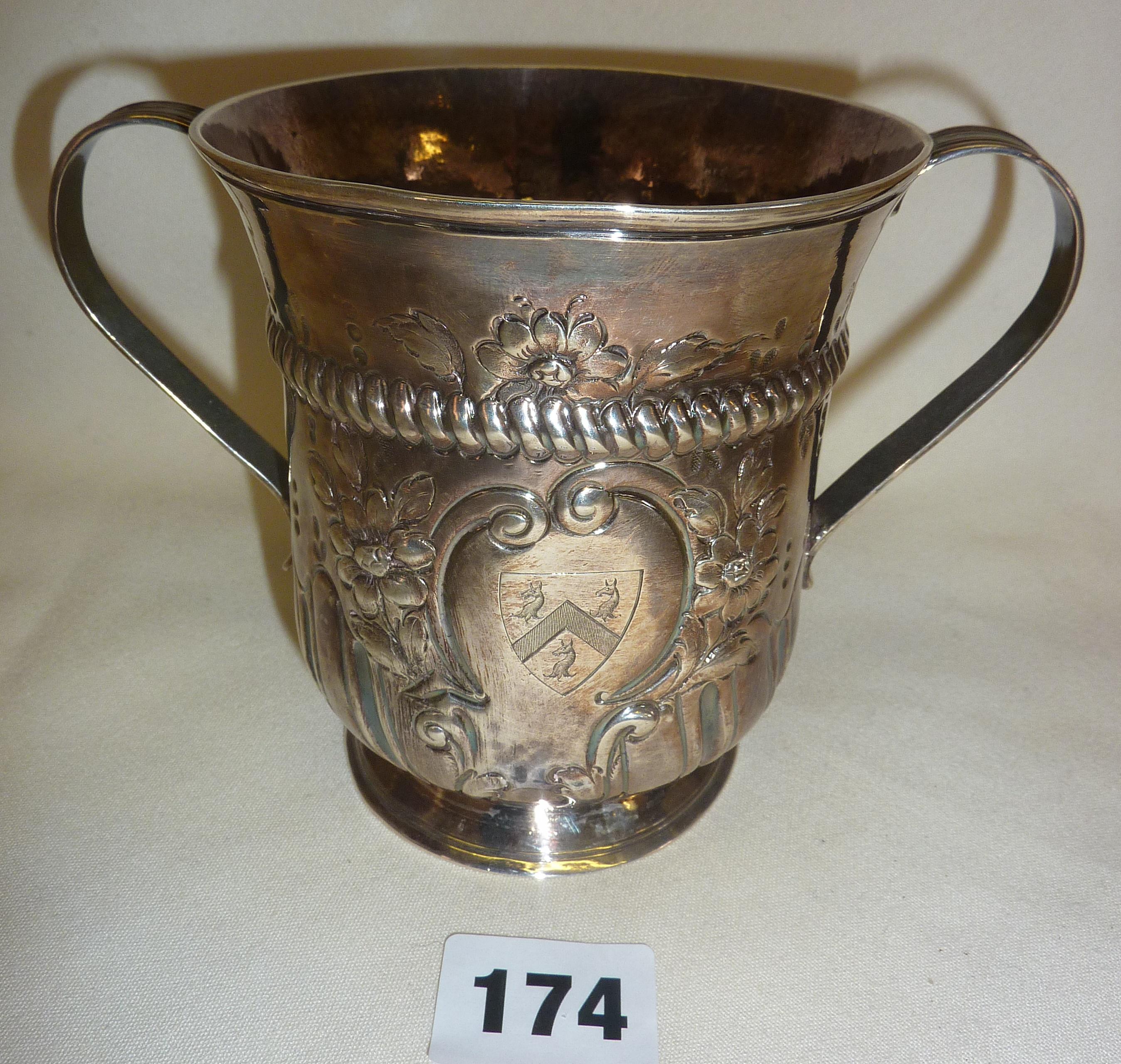 George III hallmarked silver porringer or loving cup with later engraved heraldic shield, by John