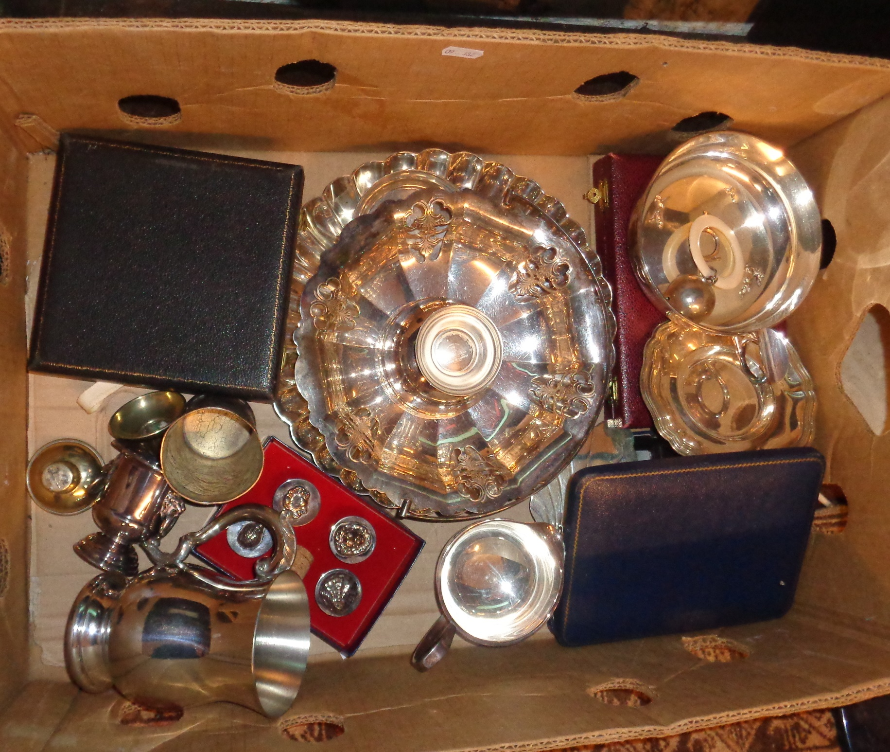Good lot of silver plate, Elkington scalloped dish, bottle stoppers, cutlery, white metal beaker