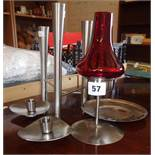 Old Hall stainless steel candle holders, a Campden triple candlestick designed by Robert Welch,