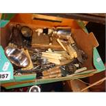 Box of antique and vintage silver plated cutlery