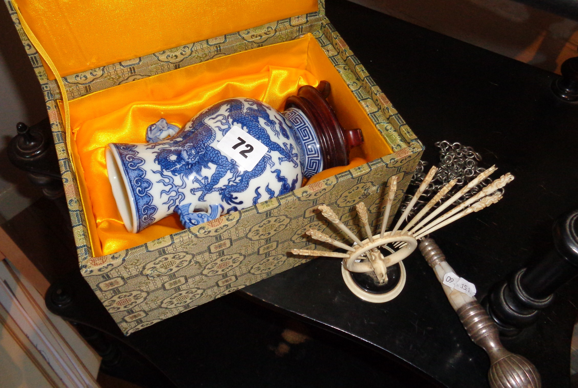 Lot 72 - Modern Chinese vase on stand, in presentation box, a set of bone toothpicks and a toilet chain