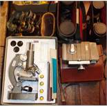 Old cased binoculars and opera glasses, two vintage pairs of binoculars, microscope and Bell &