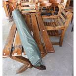 Craftsman made x-frame garden table, garden umbrella and two matching large garden armchairs