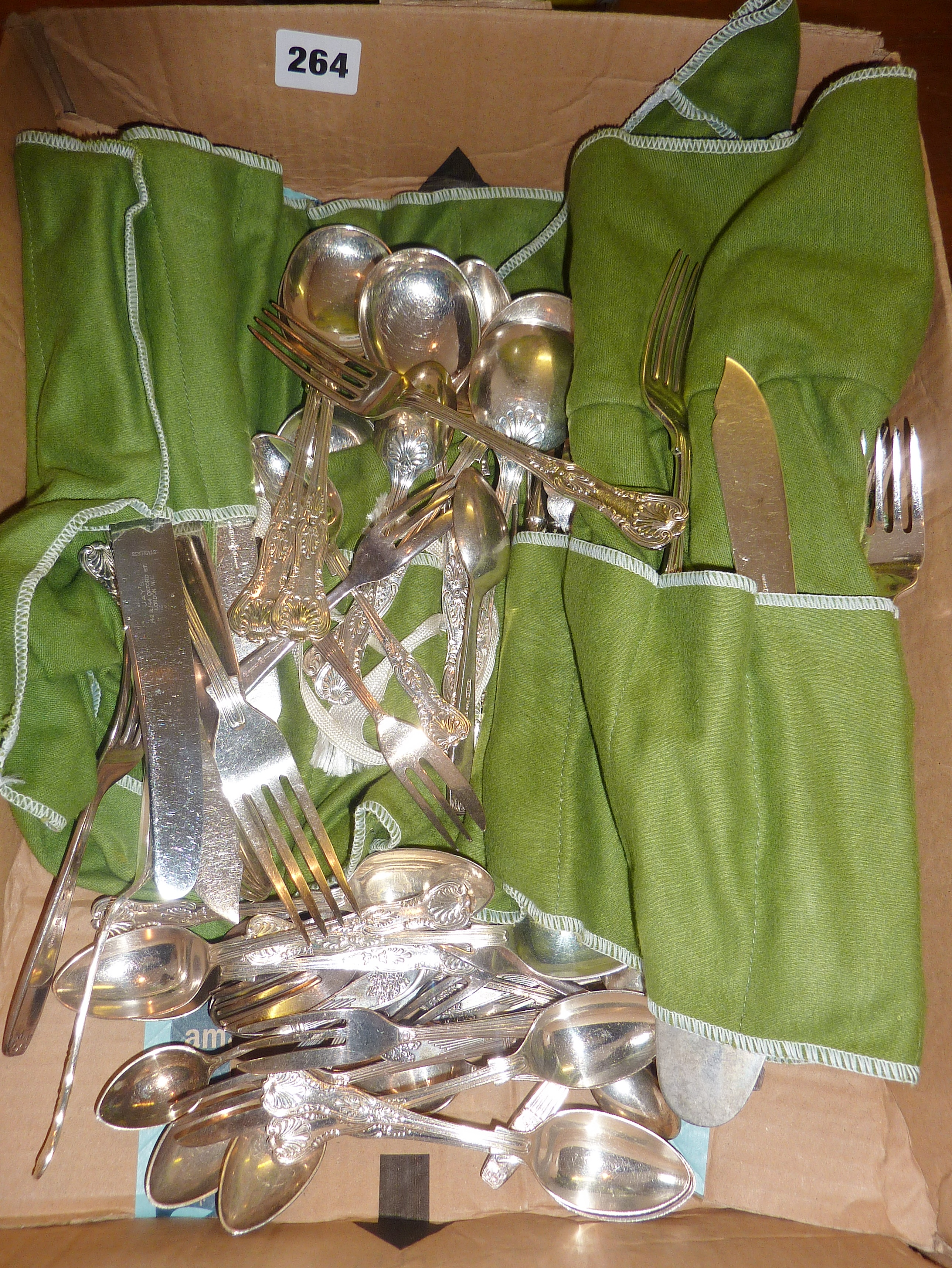 Silver-plated King's pattern cutlery set, and other cutlery