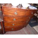 "Georgian mahogany bowfronted chest on splayed bracket feet, 17.5"" deep x 39.5"" high"