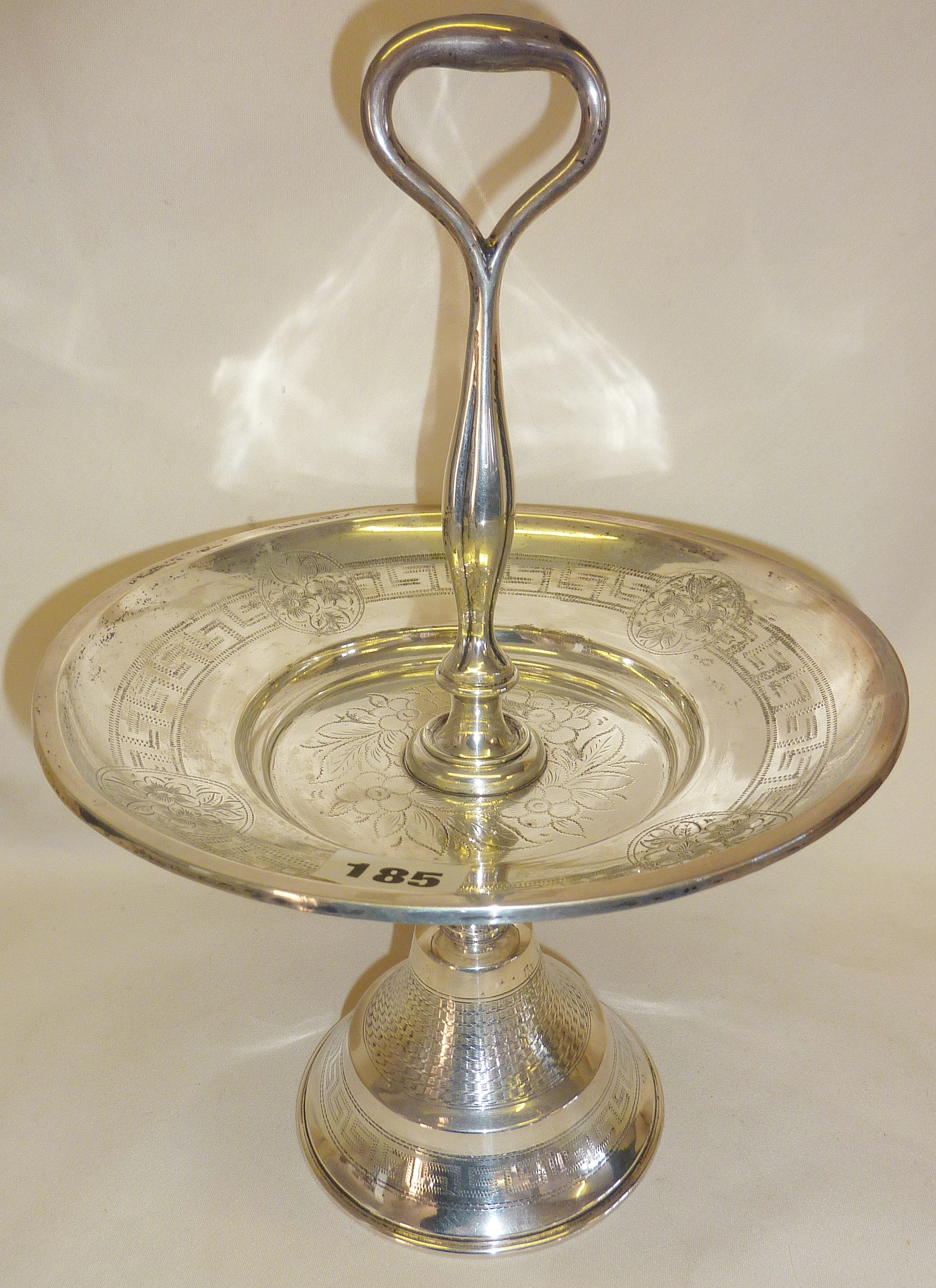 Continental engraved silver tazza, approx 13oz.