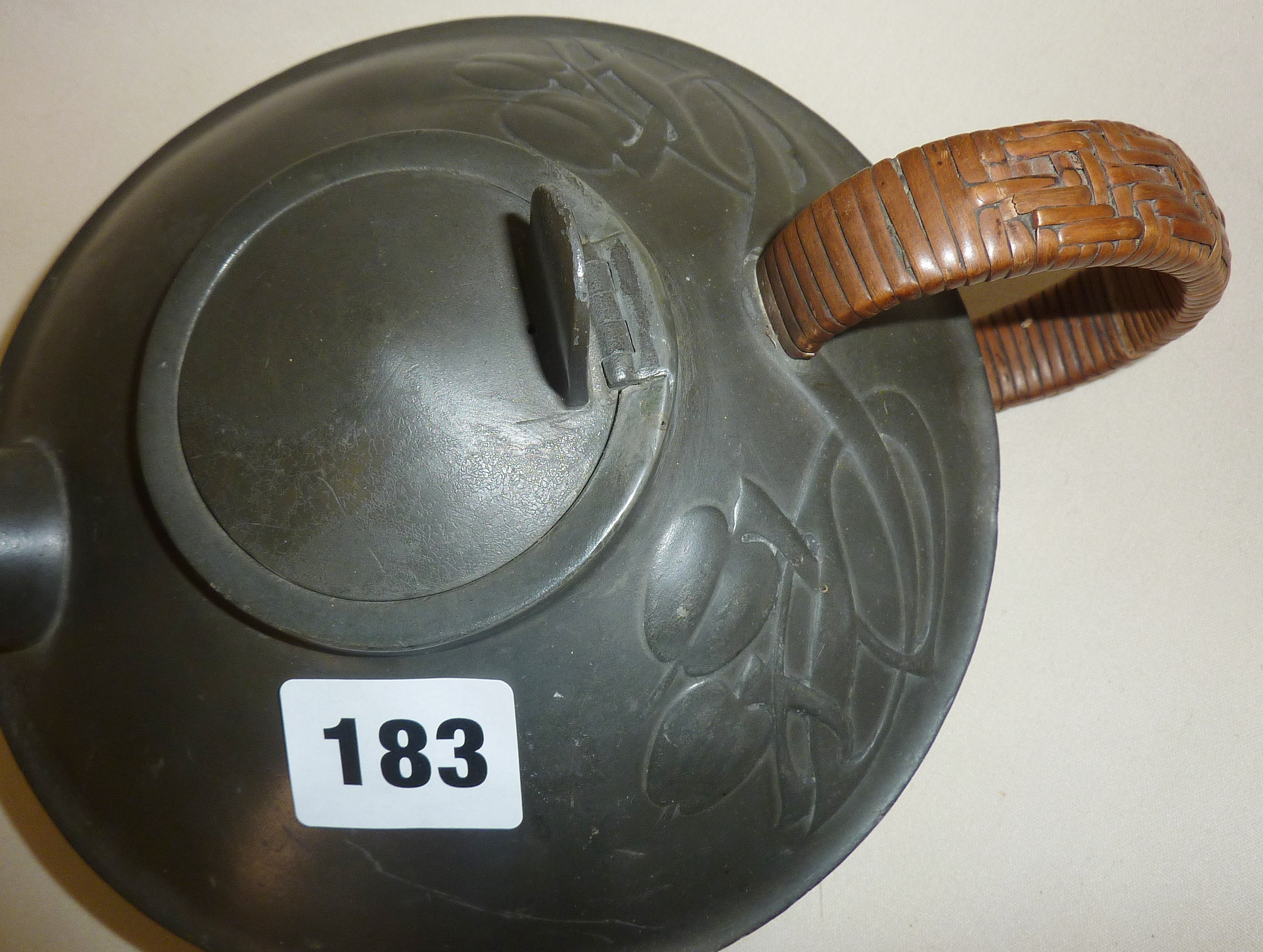 Archibald Knox designed Arts and Crafts Tudric Pewter teapot 0231, retailed by Liberty & Co - Image 2 of 3