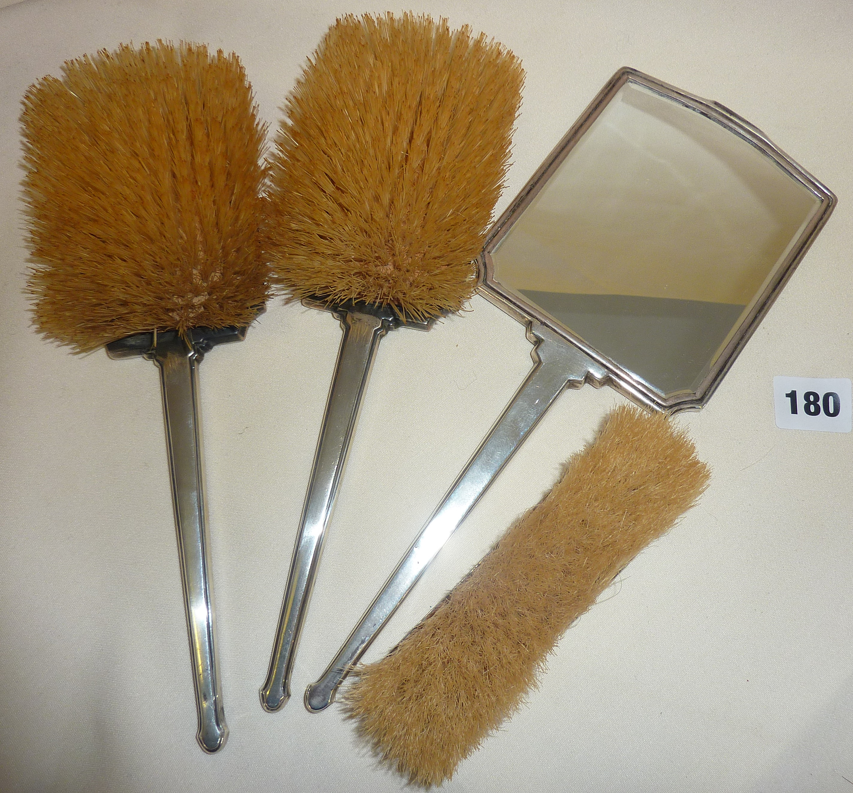 Four piece Art Deco guilloche enamel vanity set of brushes and mirror, retailed by Goldsmiths & - Image 2 of 2