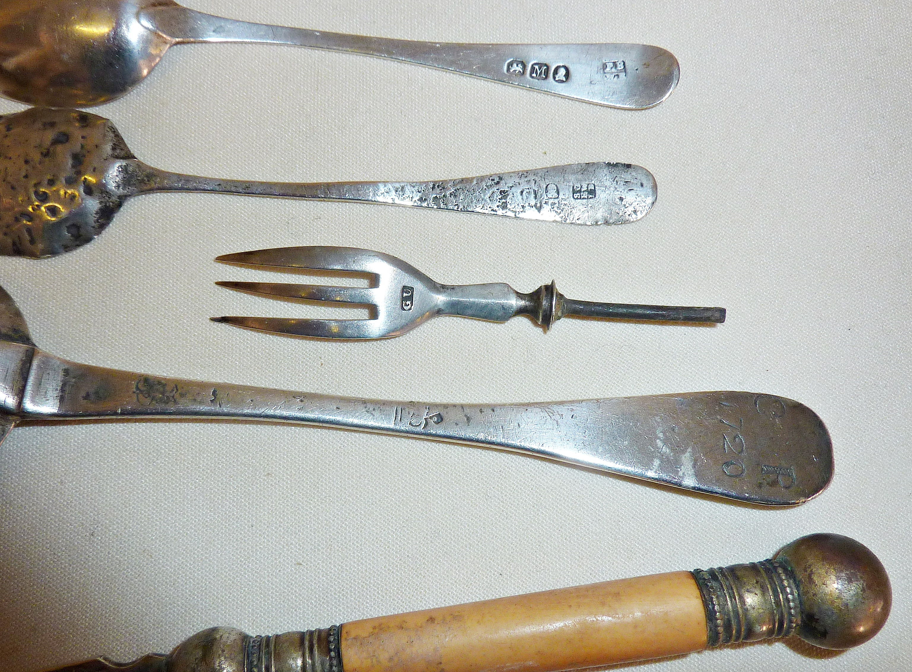 Antique silver spoons, one tablespoon marked as '1720', another circa 1800 London, Samuel Godbehere, - Image 2 of 2