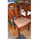 Mahogany spoon-back dining chair with paisley seat