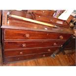 19th century mahogany chest of four graduated drawers