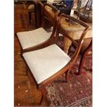 Pair of Regency mahogany sabre leg dining chairs with rope-twist top rail
