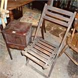 Small mahogany sewing table and a slatted wood folding garden chair