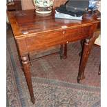 19th c. cross banded mahogany ladies writing table with single drawer having fitted interior above