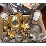 Box of assorted brassware, etc.