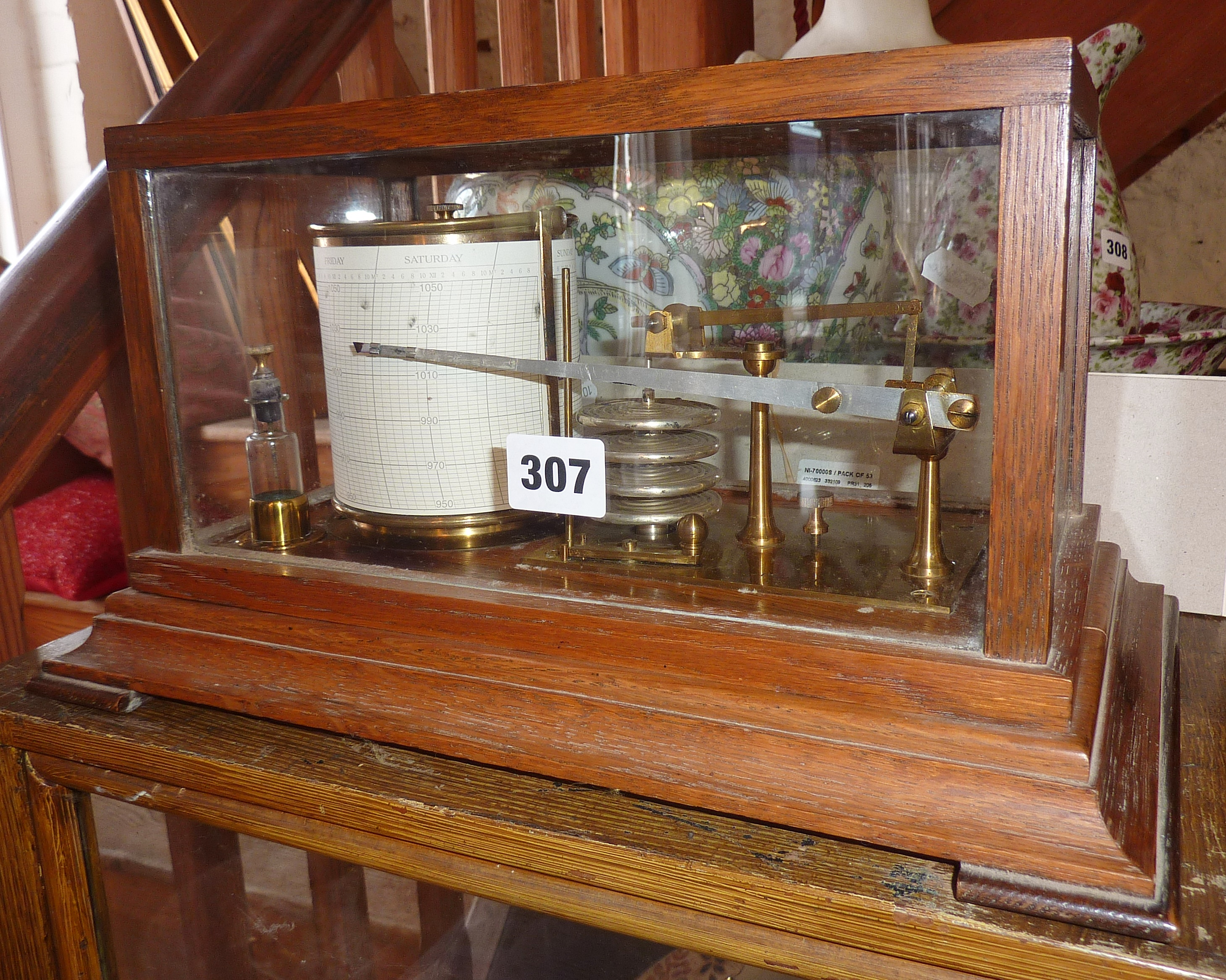 Lot 307 - Pillischer of London Barograph, with charts and inks, in oak framed glass case