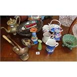 Four various jugs and vases and silver plated ladle, baskets, etc.