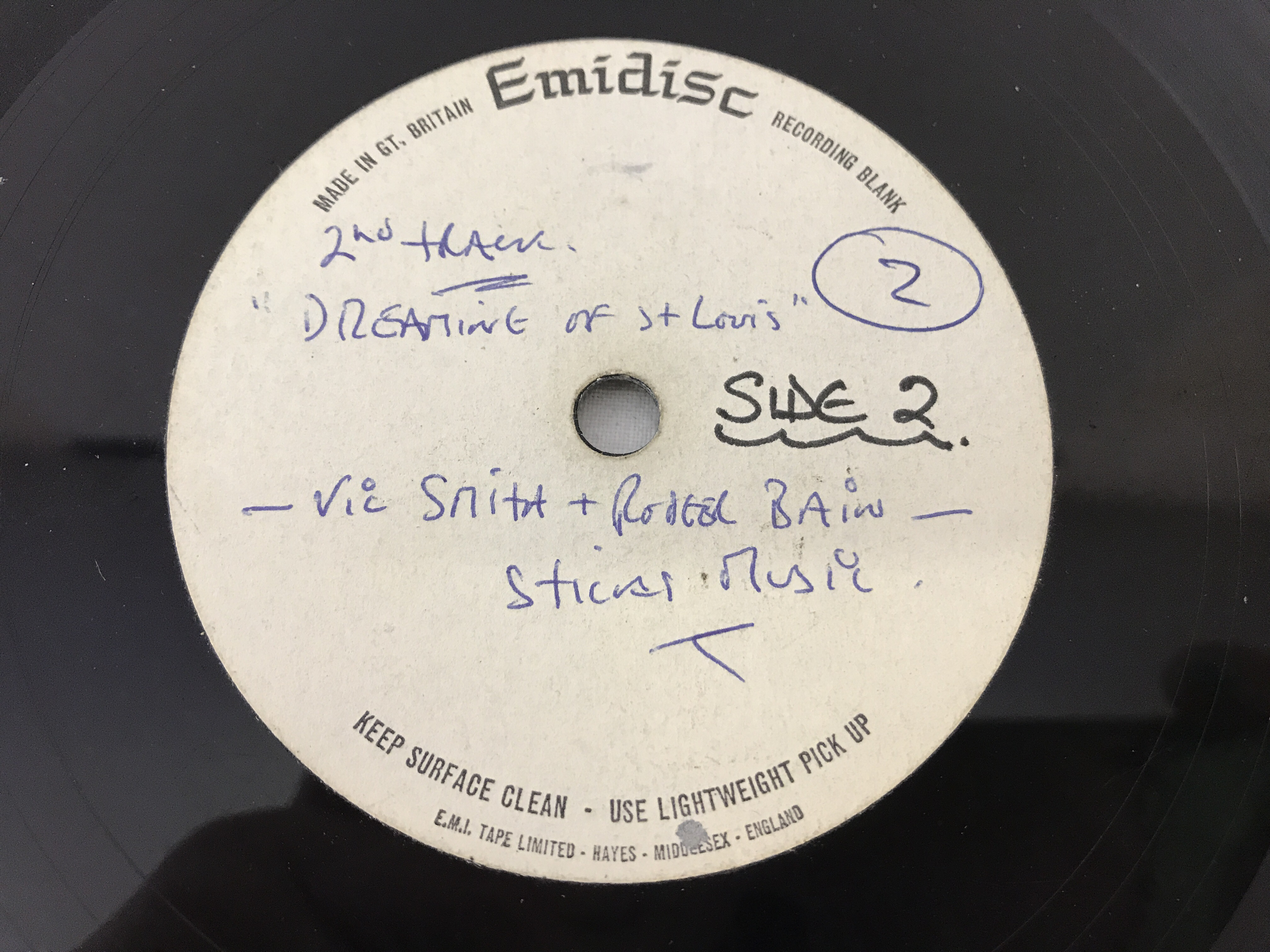 """Lot 34 - 12"""" rare, early Billy Fury demo record. Recorded onto an Emidisc Acetate."""