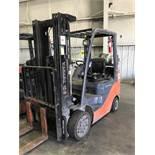 """#2 toyota model 8fgcu25 4500# l/p powered fork lift truck s/n 72214, side shifter, 60"""" forks,"""