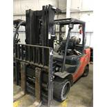"""#7 toyota model 8fg55u 12,000# l/p powered fork lift truck s/n 10391, side shifter and clamp, 60"""""""