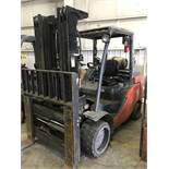 """#6 toyota model 8fgc55u 12,000# l/p powered fork lift truck s/n 10386, side shifter and clamp, 60"""""""