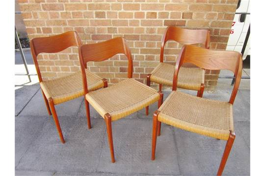 a set of four niels moller teak model 71 dining chairs designed c
