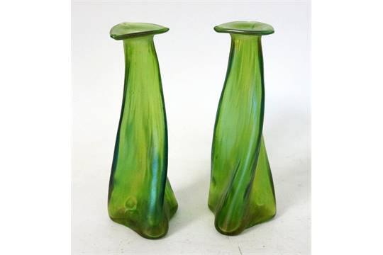 Pair Of Loetz Papillon Glass Vases After A Design By Christopher