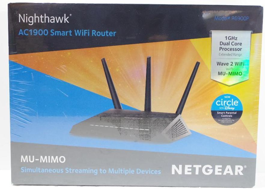 Lot 1028 - NEW NETGEAR Nighthawk AC1900 Smart WiFi Extended Range 1 Ghz Dual Core Processor Router