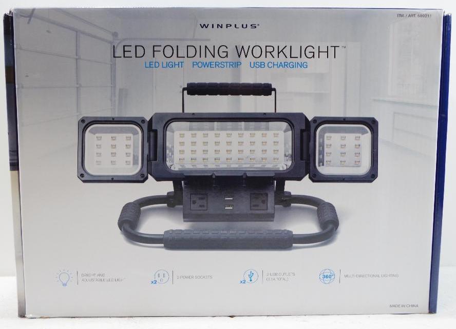 Lot 1068 - WINPLUS LED Folding Work Light w/ Power Strip & USB Charging