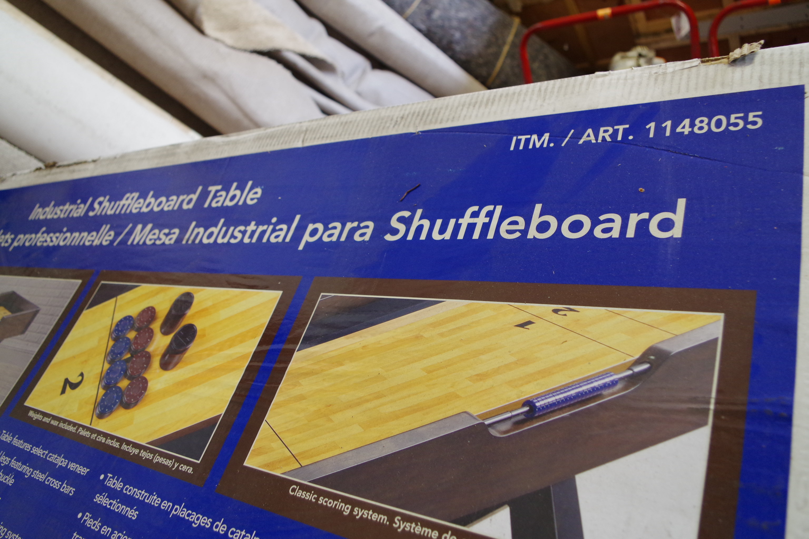 Lot 1002 - NEW Industrial Solid Wood Craftmanship Shuffleboard Table (NEW in box)