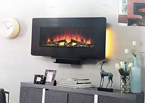Lot 1005 - EMBER HEARTH Curved Wall Mount Fireplace, M/N 1147823
