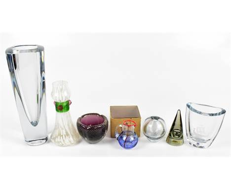 A collection of Scandinavian glassware including a Stromberg vase engraved with a Viking boat, height 10.5cm, a Kosta Boda mi