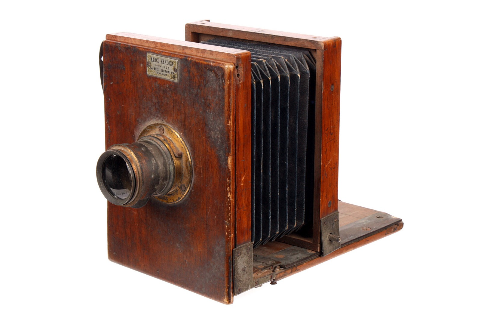 "A Marco Mendoza Mahogany Tailboard Camera, serial no. 6, 4x5"", with ..."