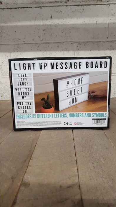 Lot 32 - 1 BOXED LIGHT UP MESSAGE BOARD (VIEWING HIGHLY RECOMMENDED)