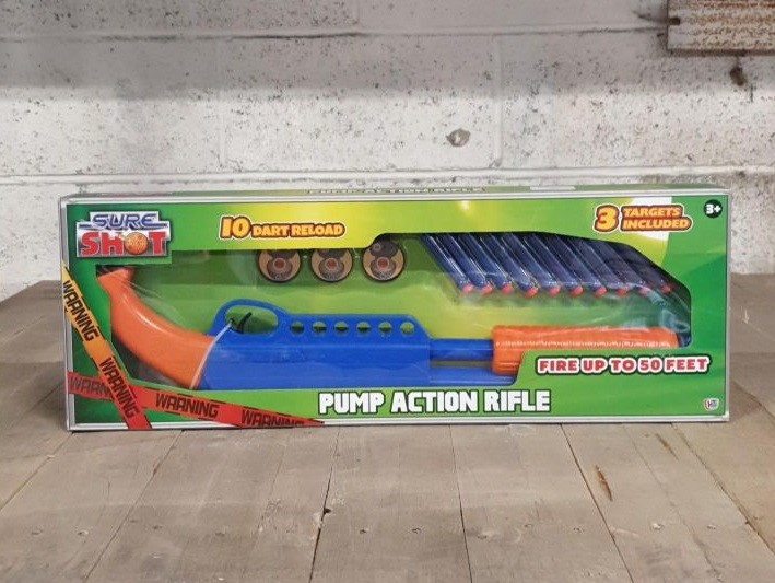 Lot 60 - 1 BOXED SURE SHOT PUMP ACTION RIFLE, FIRES UP TO 50 FEET (VIEWING HIGHLY RECOMMENDED)