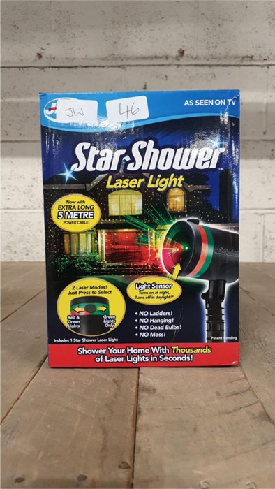 Lot 46 - 1 BOXED JML STAR SHOWER LASER LIGHT, 5 METRE POWER CABLE, LIGHT SENSOR (VIEWING HIGHLY RECOMMENDED)