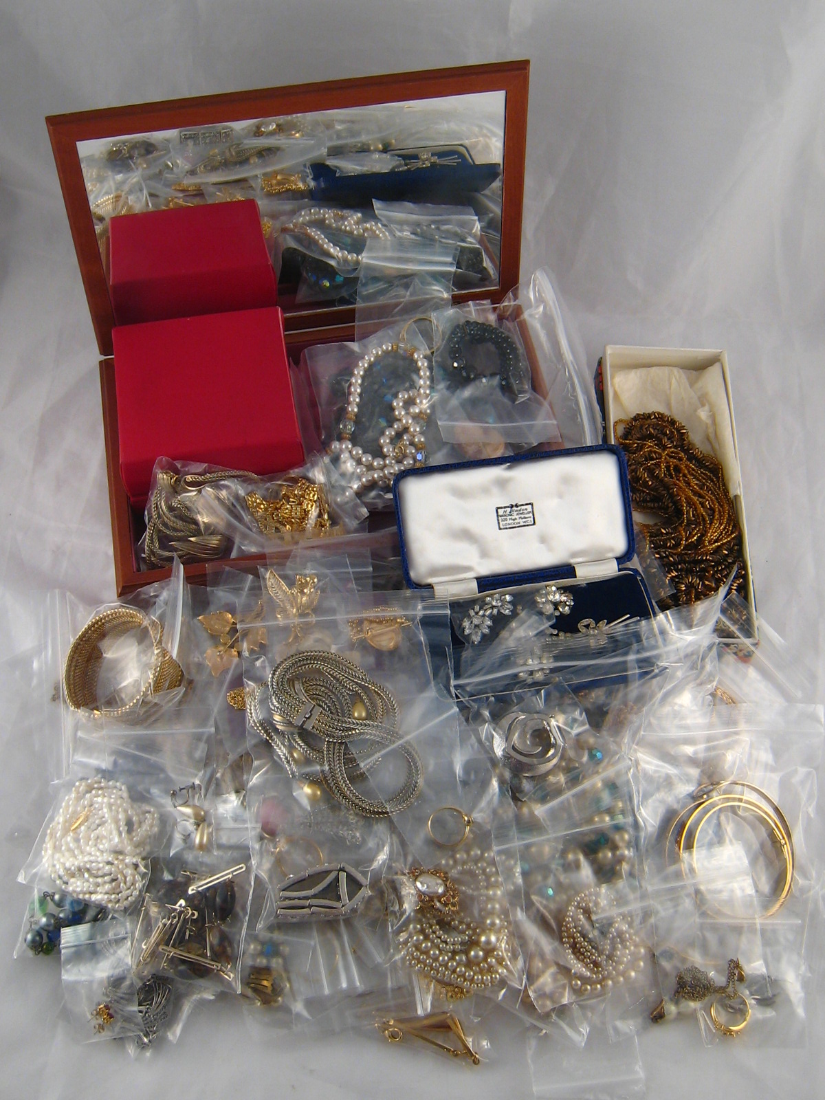 Lot 155 - A large quantity of costume jewellery and a jewellery box.
