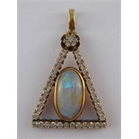 A yellow metal (tests 14 carat gold) opal and diamond triangular pendant,