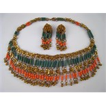 A 1920's - 30's Austrian gilt metal and ceramic fringe necklace with matching clip earrings,