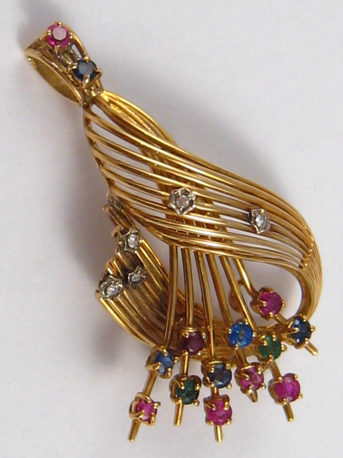 A yellow metal (tests 18 carat gold) ruby, sapphire, emerald and diamond pendant, approx 5cm, 9. - Image 2 of 2