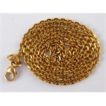 A yellow metal (tests 18 carat gold) necklace chain, approx 52cm long, 8.2 gms.
