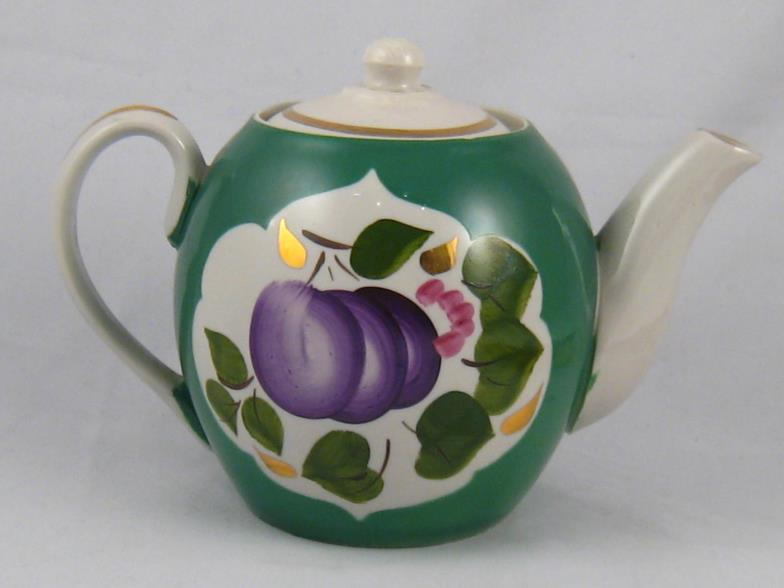 Lot 317 - A Russian ceramic teapot,