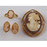 A Victorian 9 carat gold framed cameo brooch, approx 4 x 3.