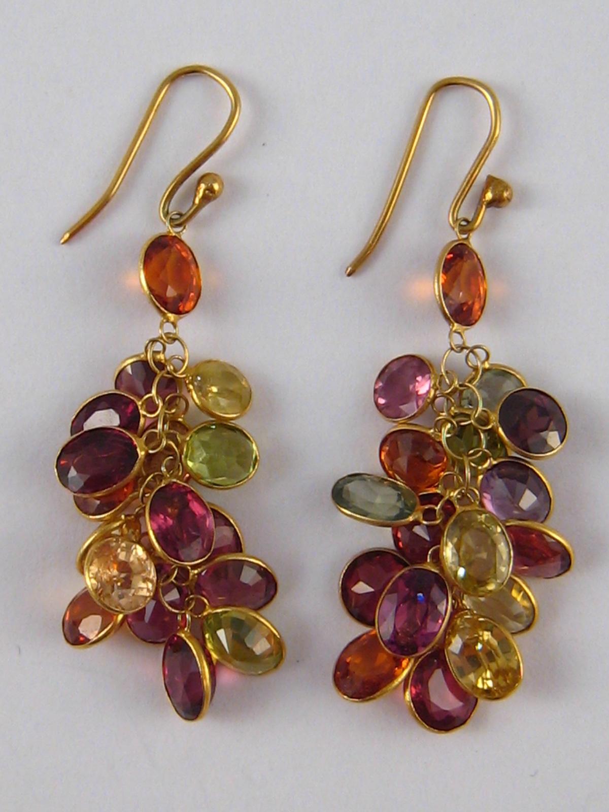 "Lot 147 - A pair of yellow metal (tests 14 carat gold) multi gem ""tutti frutti"" drop earrings, approx 4."