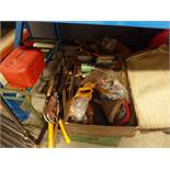 1/2 bay of assorted garden tools and suitcases
