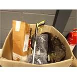 Large cardboard box containing sprayer, hosepipe, litter collector etc